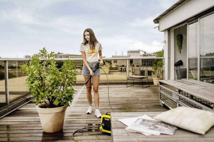 Уборка террасы минимойкой