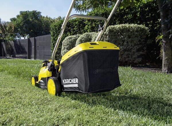 Скашивание травы с помощью газонокосилки LMO 18-36 Battery Set